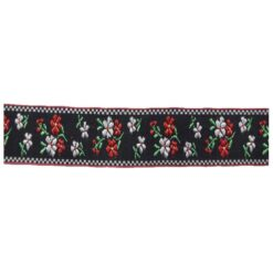 Δαντέλα (Ατραντές) με Μικρά Λουλούδια σε Μαύρο