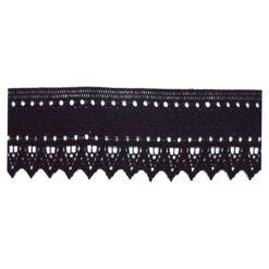 Δαντέλα Βαμβακερή Μαύρη με Πυκνή Πλέξη