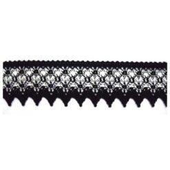 Δαντέλα Βαμβακερή σε Μαύρο με Λευκό