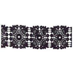 Δαντέλα Κιπούρ Κοφτή με Σχέδια σε Μαύρο