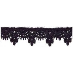 Δαντέλα Κιπούρ με Κρεμαστές Μαργαρίτες σε Μαύρο