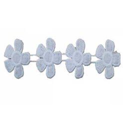 Δαντέλα Κιπούρ με Συνεχόμενα Λουλούδια σε Λευκό