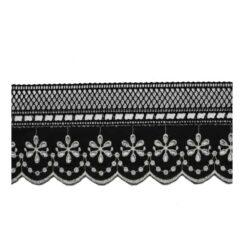 Δαντέλα και Ατραντές Κιπούρ Βαμβακερή σε Μαύρο Χρώμα