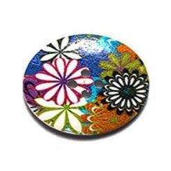 Κουμπί Ξύλινο Διακοσμητικό με Λουλούδια