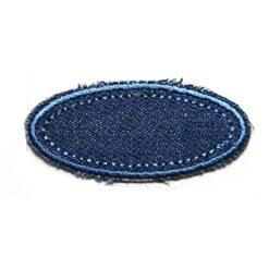 Θερμοκολλητικά Μοτίφ Στάμπες Μπάλωμα Οβάλ σε Μπλε του Τζιν Χρώμα