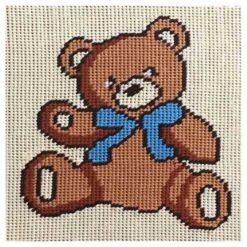 Κέντημα Παιδικό Αρκουδάκι με Μπλε Κορδέλα