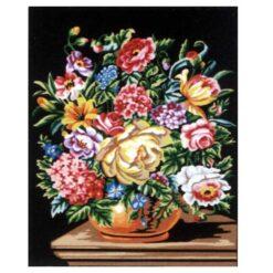 Κέντημα Σταμπωτό Βάζο με Λουλούδια σε Μαύρο Φόντο