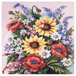 Κέντημα Σταμπωτό Βάζο με Λουλούδια
