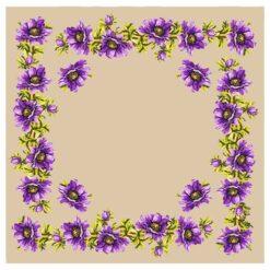 Κέντημα Σταμπωτό Καρέ με Μωβ Λουλούδια
