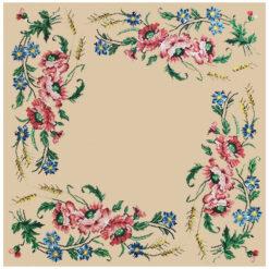 Κέντημα Σταμπωτό Καρέ με Πολύχρωμα Λουλούδια