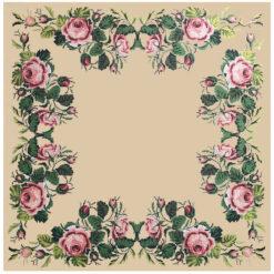 Κέντημα Σταμπωτό Καρέ με Ροζ Τριαντάφυλλα