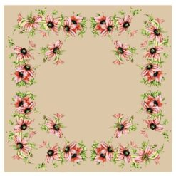 Κέντημα Σταμπωτό Καρέ με Ροζ Λουλούδια