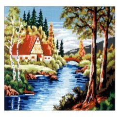Κέντημα Σταμπωτό Σπίτι στο Ποτάμι