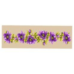 Κέντημα Σταμπωτό Τραβέρσα με Σχέδιο Μοβ Λουλούδια