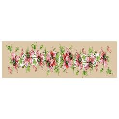Κέντημα Σταμπωτό Τραβέρσα με Σχέδιο Ροζ Λουλούδια