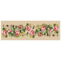Κέντημα Σταμπωτό Τραβέρσα με τα Ροζ Τριαντάφυλλα