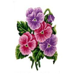 Κέντημα Σταμπωτό με Μοβ και Ροζ Λουλούδια