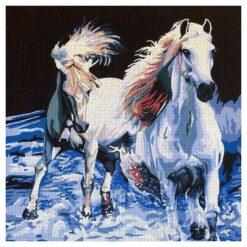 Κέντημα Σταμπωτό με τα Αλογα να Τρέχουν στην Θάλασσα