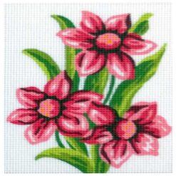 Κέντημα Σταμπωτό με το Ροζ Λουλούδι Κομπλέ Κιτ