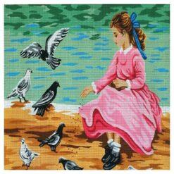 Κέντημα Σταμπωτό το Κορίτσι με τα Περιστέρια