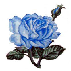 Κέντημα Σταμπωτό Μπλε Τριαντάφυλλο