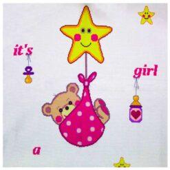 Κέντημα Σταυροβελονιάς Κουβερτάκι (It's a Girl)