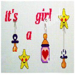 Κέντημα Σταυροβελονιάς Μαξιλάρι (It's a Girl)
