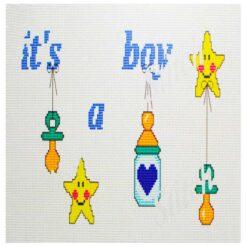 Κέντημα Σταυροβελονιάς Μαξιλάρι (It's a Boy)