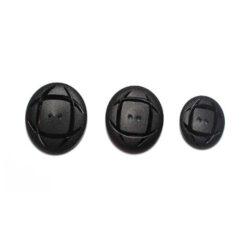 Κουμπί Ματ με Γυαλιστερές Λεπτομέρειες σε Μαύρο