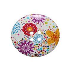 Κουμπί Ξύλινο Διακοσμητικό με Ιδιαίτερα Λουλούδια
