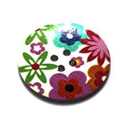 Κουμπί Ξύλινο Διακοσμητικό με Πολύχρωμα Λουλούδια