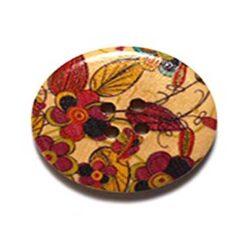 Κουμπί Ξύλινο Διακοσμητικό με πολλά Λουλούδια