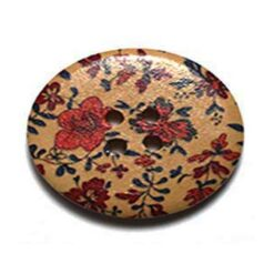 Κουμπί Ξύλινο Διακοσμητικό με Κόκκινα Λουλούδια