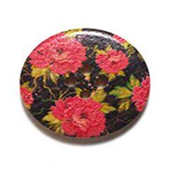 Κουμπί Ξύλινο Διακοσμητικό με Τριαντάφυλλα