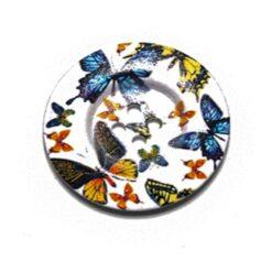 Κουμπί Ξύλινο Λευκό με Πεταλούδες