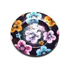 Κουμπί Ξύλινο Μαύρο με Λουλούδια