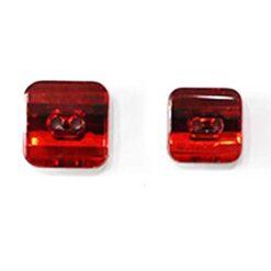 Κουμπί Τετράγωνο Στρας σε Κόκκινο Χρώμα