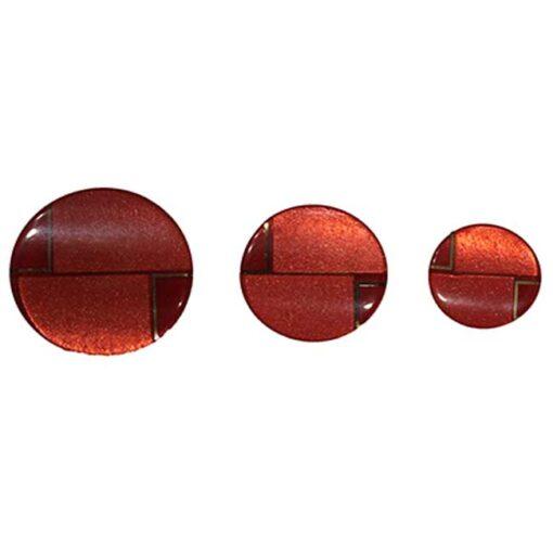 Κουμπιά Γυαλιστερά με Ματ σε Μπούλ σε Κόκκινο
