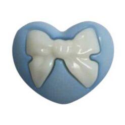 Κουμπιά Παιδικά Καρδούλα με Φιόγκο σε Γαλάζιο Χρώμα
