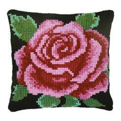 Μαξιλάρι για Κέντημα με το Ροζ Τριαντάφυλλο