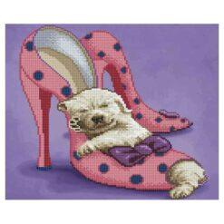 Πίνακας με Ψηφίδες Diamond Dotz Complete Κιτ Σκυλάκι που Κοιμάται στις Γόβες
