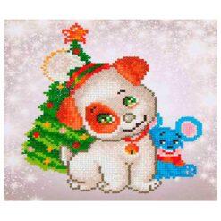 Πίνακας με Ψηφίδες Diamond Dotz Complete Κιτ Christmas Pup & Mouse