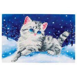 Πίνακας με Ψηφίδες Diamond Dotz Complete Κιτ Kitten in the Snow