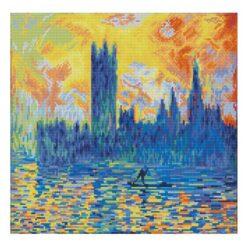 Πίνακας με Ψηφίδες Diamond Dotz Complete Κιτ London Parliament in Winter (apres Monet)
