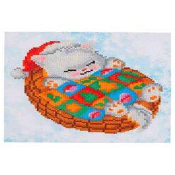 Πίνακας με Ψηφίδες Diamond Dotz Complete Κιτ Snug Christmas Kitty