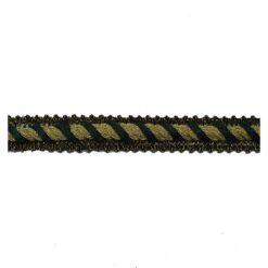 Σιρίτι Λασέ με Χρυσοκλωστή με Πλάγια Γραμμή 10mm Πράσινο
