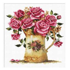 Σταμπωτό Κέντημα Λουλούδια στο Βάζο σε Εταμίν Αίντα Κομπλέ Κιτ