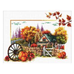 Σταμπωτό Κέντημα Φθινόπωρο στο Αγρόκτημα σε Εταμίν Αίντα Κομπλέ Κιτ