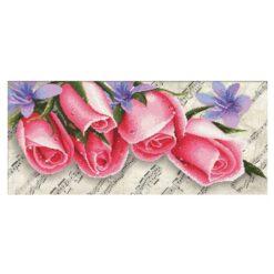 Σταμπωτό Κέντημα με Ροζ Τριαντάφυλλα σε Εταμίν Αίντα Κομπλέ Κιτ